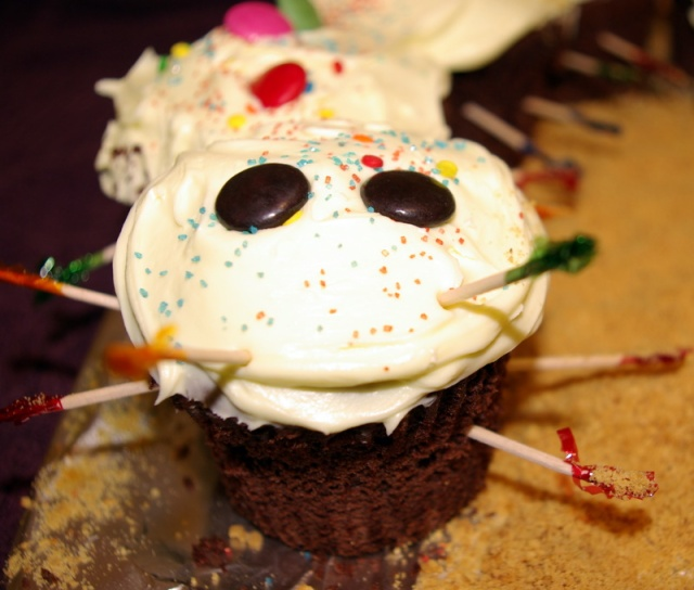 Decorated Cupcake cake caterpillar head