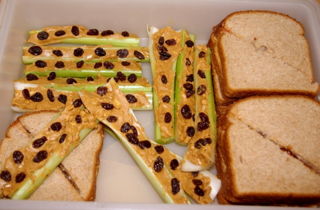 classic snack food PB and celery with raisins