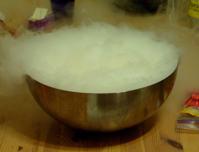 bowl of dry ice