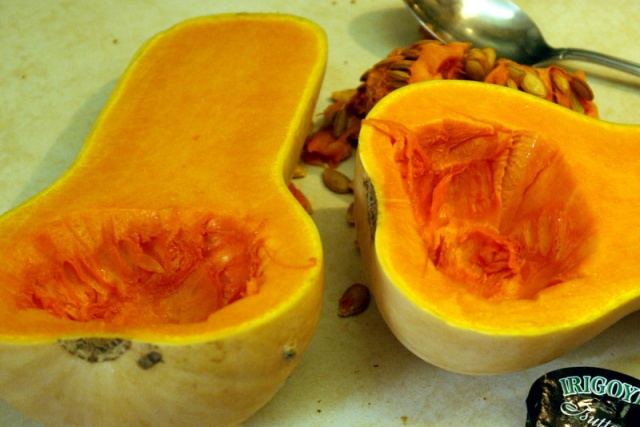 butternut squash halved and scoop seeds