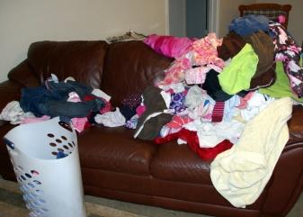 large family laundry pile