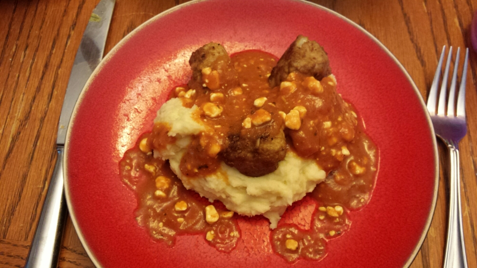 GF Meatballs and mashed potatoes