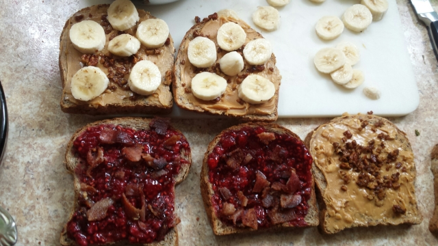 PB&J with bananas, fresh fruit and bacon