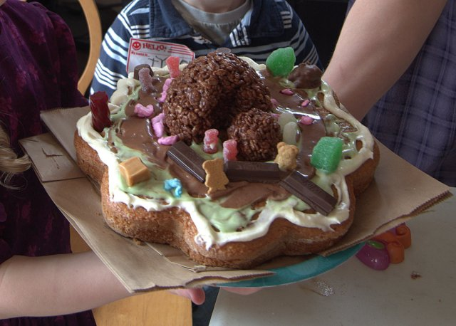 Cake decorated as empty tomb